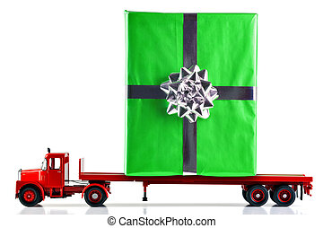 Gift wrapped present being delivered by truck - A gift ...