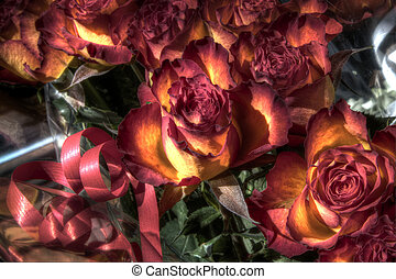 Gift wrapped roses