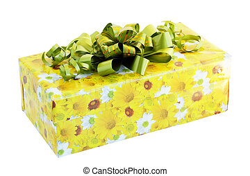 gift wrapped with a green ribbon / isolated