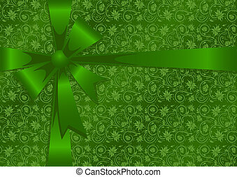 Gift wrapping - Illustration of gift wrapping in green...