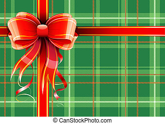 Gift wrapping - illustration of green Scottish plaid gift...
