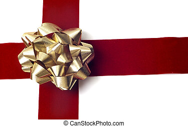 Gift Wrapping - Red ribbon gold bow isolated on white...