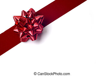 Gift Wrapping - Red ribbon bow isolated white background...