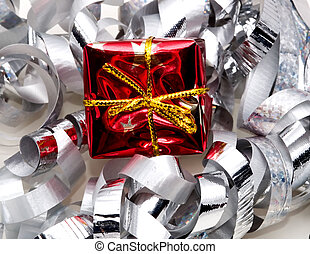 Gift w/silver ribbon