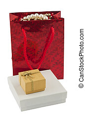 Giftbag and two boxes - Red giftbag with jewelry and two ...