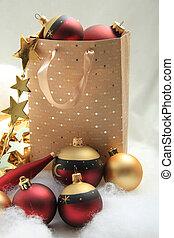 Giftbag with christmas ornaments