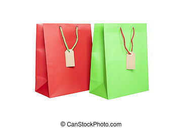 Giftbags with tags isolated