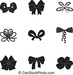 Giftbows, node, ornamentals, and other web icon in black ...