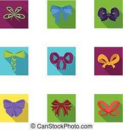 Giftbows, node, ornamentals, and other web icon in flat ...