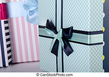 Giftbox close up in christmas concept