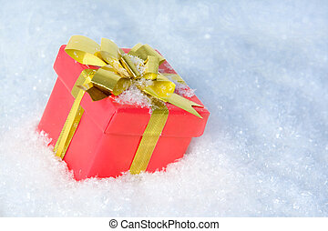 Giftbox in snow