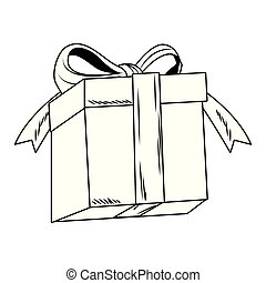 Giftbox present cartoon pop art in black and white