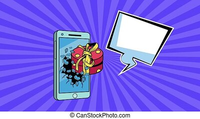 giftbox present in smartphone with speech bubble pop art style ,4k video animated
