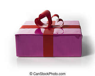 Giftbox with red hart shaped laces on a white background