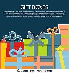 GiftBoxes-26 - Background with a colorful gift boxes. Vector...