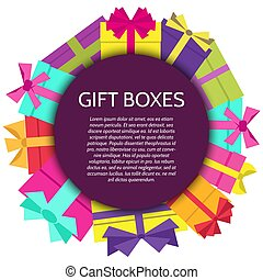 GiftBoxes-45 - Background with a colorful gift boxes. Vector...