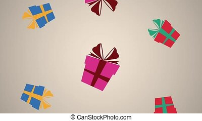 Giftboxes falling background HD animation