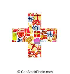 giftboxes, más, hecho, -, alfabeto