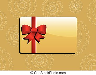 Giftcard - Golden giftcard with red ribbon