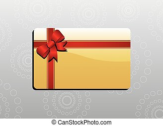 Giftcard with bow and red ribbons