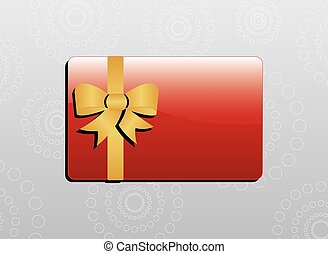 Giftcard - Red giftcard with golden bow and golden ribbons