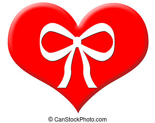 Big red gifted heart with a white bow