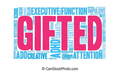 Gifted Word Cloud - Gifted ADHD word cloud on a white...