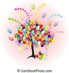 giftes, fa, karikatúra, dobozok, baloons, fél, ünnep, esemény, boldog