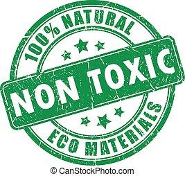 giftig, stämpel, non, produkt