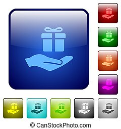 Gifting color square buttons