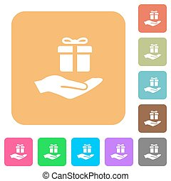 Gifting rounded square flat icons