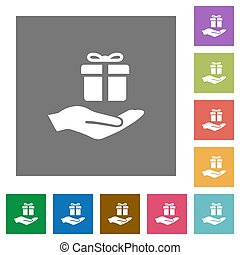 Gifting square flat icons