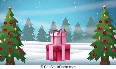 gifts, веселый, счастливый, место действия, snowscape, карта, pines, рождество