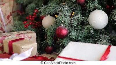 gifts, красный, рождество, colours., под, украшен, канун, дерево, presents