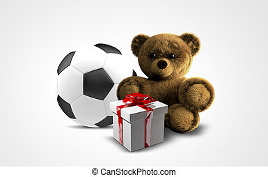 gifts 3d render. ball teddy box gifts