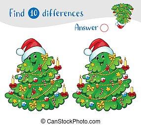 gifts., achar, natal, 10, differences., árvore, decorações