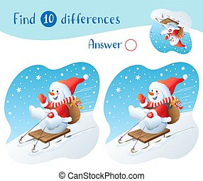 gifts., achar, natal, boneco neve, 10, differences., trenó