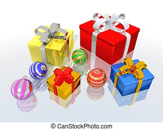 Gifts and christmas balls - a 3d render of gifts and ...