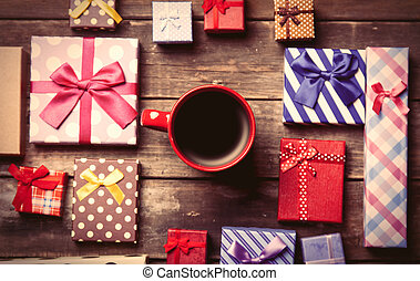 gifts and cup of coffee