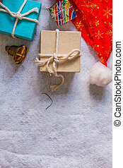 Gifts and decorations on background.