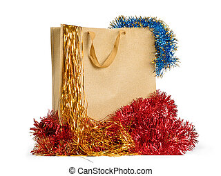 Gifts bag with christmas decorations isolated