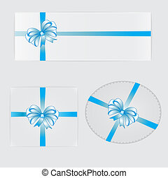 Gifts, blue bows and ribbons