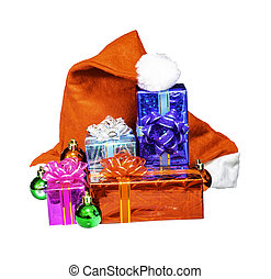 Gifts box and Santa claus hat isolated