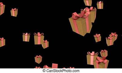 Gifts boxes falling on black Intro for your video
