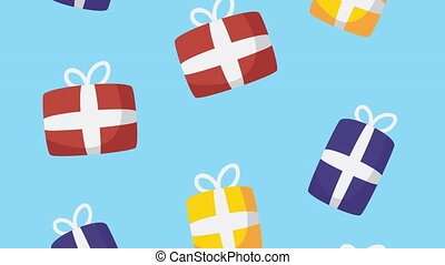 gifts boxes set icons animation