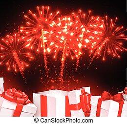 gifts., festivo, plano de fondo, fuego artificial