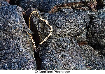 Gifts for Goddess Pele - Religious offering left on lava for...