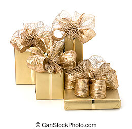 Gifts - Gold gifts isolated on white background