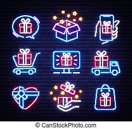 Gifts icon set neon. Design template, design elements. Bonus cuisine objects. Light banner, collection neon signs for Holidays. Vector illustration