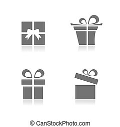 Gifts icons set with reflection on white background